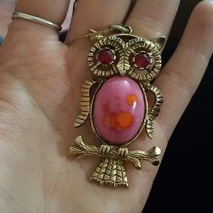 Unique Vintage Owl Pendant w/ Chain
